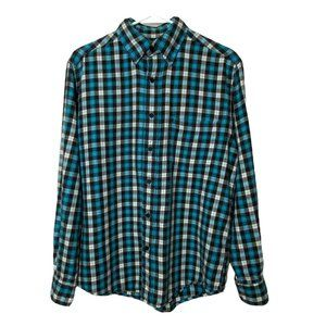 St. John's Bay Plaid Flannel Shirt S Turquoise